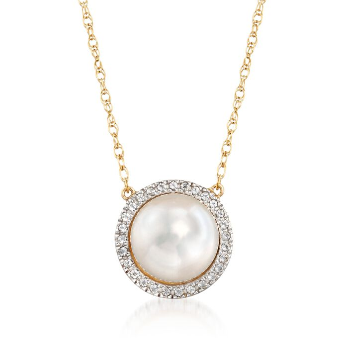 """9.5-10mm Cultured Pearl and .10 ct. t.w. White Topaz Necklace in 14kt Yellow Gold. 18"""", , default"""