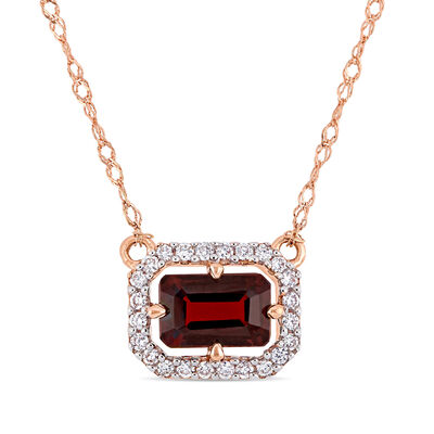 .80 Carat Garnet and Diamond-Accented Necklace in 14kt Rose Gold