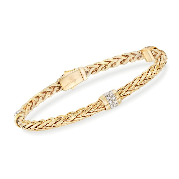 "Phillip Gavriel ""Woven Gold"" .30 ct. t.w. Pave Diamond Station Link Bracelet in 14kt Yellow Gold"
