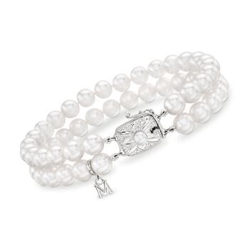 """Mikimoto 6-6.5mm 'A' Double-Strand Akoya Pearl Bracelet in 18kt White Gold. 7"""", , default"""
