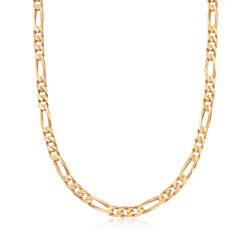 """C. 1990 Vintage 14kt Yellow Gold Figaro Chain Necklace. 18.25"""", , default"""