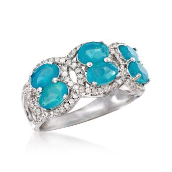 Blue Opal and .70 ct. t.w. White Zircon Ring in Sterling Silver, , default