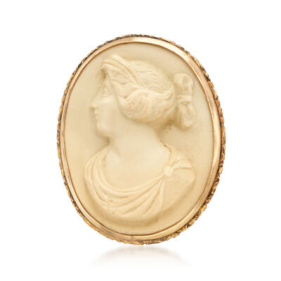 C. 1950 Vintage Oval Shell Cameo Pin, , default