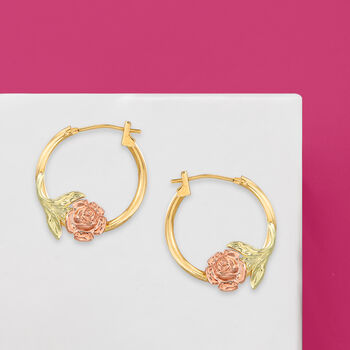 "14kt Two-Tone Gold Floral Hoop Earrings. 5/8"""