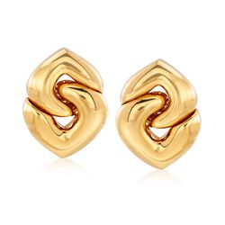 C. 1980 Vintage Bulgari 18kt Yellow Gold Interlocking Clip-On Heart Earrings, , default