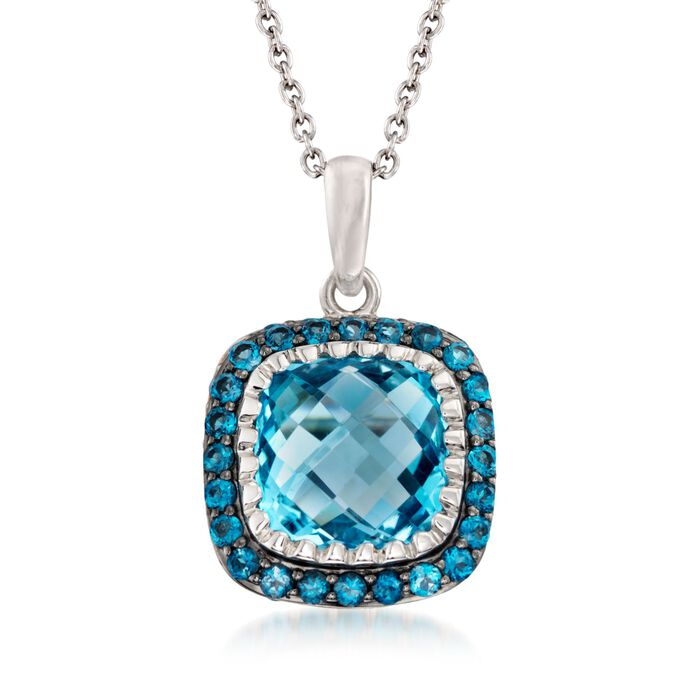 "8.90 ct. t.w. Sky and London Blue Topaz Pendant Necklace in Sterling Silver. 18"", , default"