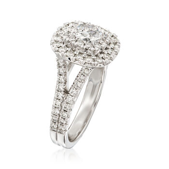 Henri Daussi 1.28 ct. t.w. Diamond Double Halo Engagement Ring in 18kt White Gold, , default