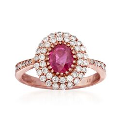 1.20 Carat Ruby and .70 ct. t.w. Diamond Ring in 14kt Rose Gold, , default