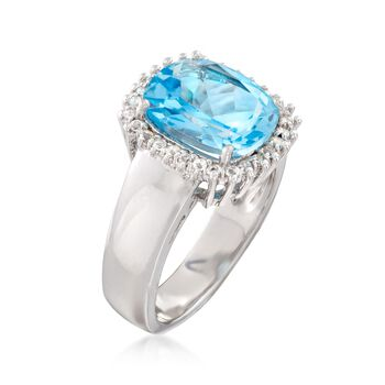 4.10 ct. t.w. Blue and White Topaz Halo Ring in Sterling Silver, , default