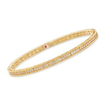 "Roberto Coin .61 ct. t.w. Diamond ""Symphony Princess"" Bangle Bracelet in 18kt Yellow Gold. 7"", , default"