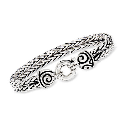 Zina Sterling Silver Double Wheat Chain Bracelet, , default