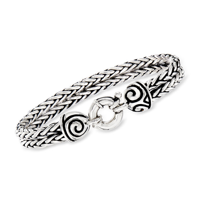 Zina Sterling Silver Double Wheat Chain Bracelet. 7.5""