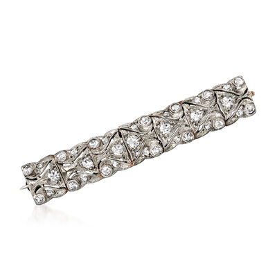 C. 1950 Vintage .70 ct. t.w. Diamond Bar Pin in Platinum