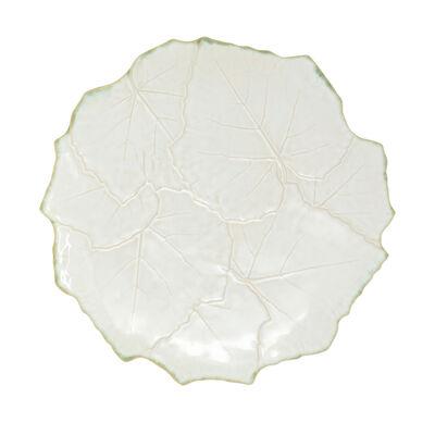 """Vietri """"Foglia"""" White Cheese/Tart Plate from Italy"""