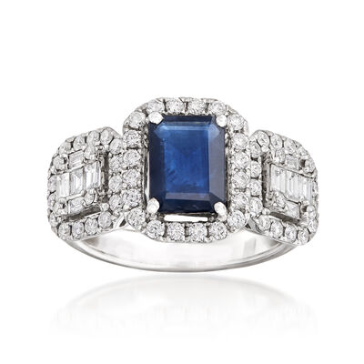 1.30 Carat Sapphire and .85 ct. t.w. Diamond Ring in 18kt White Gold, , default
