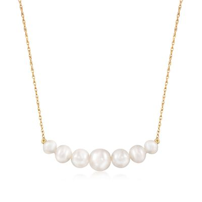 5-9mm Graduated Cultured Pearl Bar Necklace in 14kt Yellow Gold