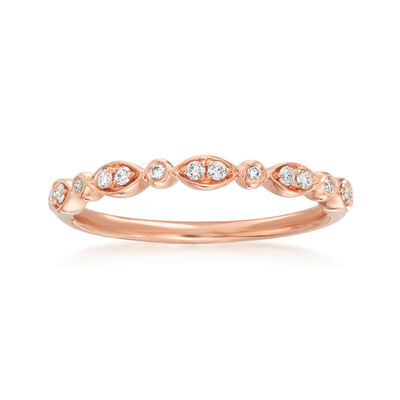 Henri Daussi .11 ct. t.w. Diamond Wedding Ring in 14kt Rose Gold, , default