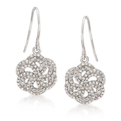 .34 ct. t.w. Diamond Pinwheel Drop Earrings in 14kt White Gold, , default