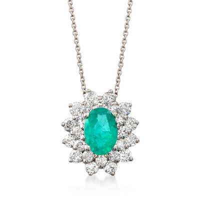 .60 Carat Emerald and .65 ct. t.w. Diamond Necklace in 18kt White Gold