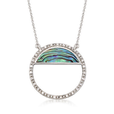 Abalone Shell and .16 ct. t.w. Diamond Circle Necklace in Sterling Silver, , default