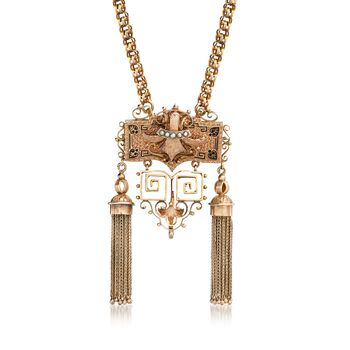 """C. 1910 Vintage 14kt Yellow Gold Tassel Pin Pendant Necklace With Seed Pearls and Black Enamel. 20"""", , default"""