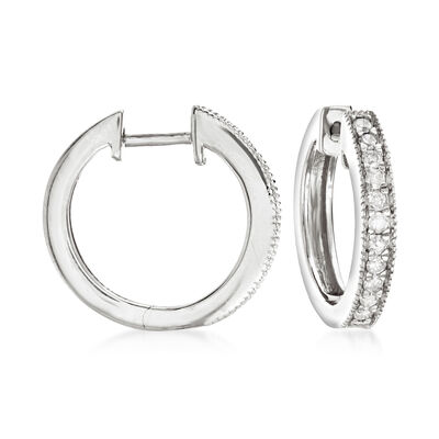 .25 ct. t.w. Diamond Hoop Earrings with Beaded Edge in Sterling Silver, , default