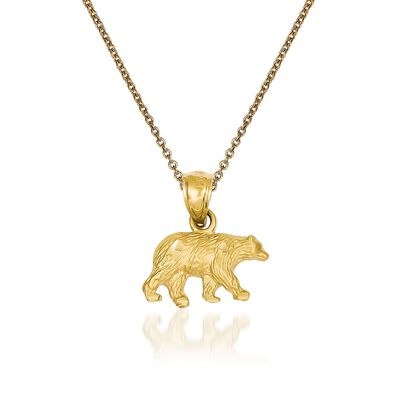 14kt Yellow Gold Bear Pendant Necklace