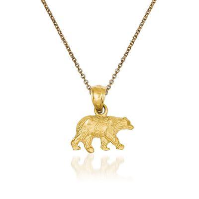 14kt Yellow Gold Bear Pendant Necklace, , default