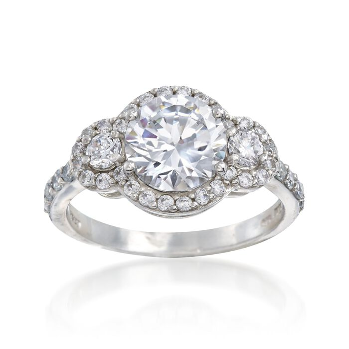 2.70 ct. t.w. CZ Three-Stone Ring in Sterling Silver, , default