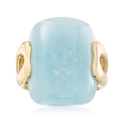 20.00 Carat Aquamarine Ring in 14kt Yellow Gold, , default