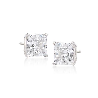 .33 ct. t.w. Princess-Cut Diamond Stud Earrings in 14kt White Gold, , default