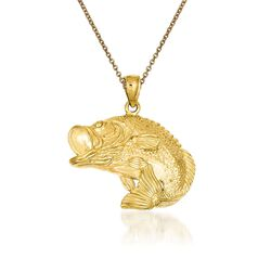 "14kt Yellow Gold Bass Fish Pendant Necklace. 18"", , default"