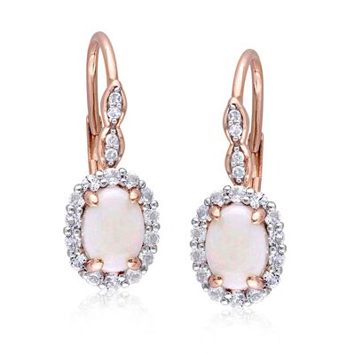 Opal and .80 ct. t.w. White Topaz Drop Earrings with Diamond Accents in 14kt Rose Gold