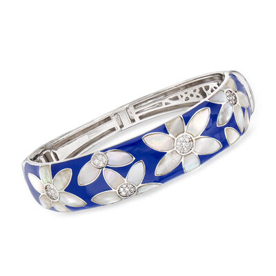"Belle Etoile ""Moonflower"" Blue Enamel and Mother-Of-Pearl Bangle Bracelet with .48 ct. t.w. CZ in Sterling Silver, , default"