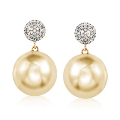 .25 ct. t.w. Pave Diamond and 14kt  Yellow Gold Over Sterling Silver Bead Drop Earrings, , default