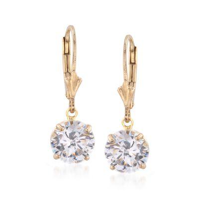 4.00 ct. t.w. CZ Drop Earrings in 14kt Gold Over Sterling, , default