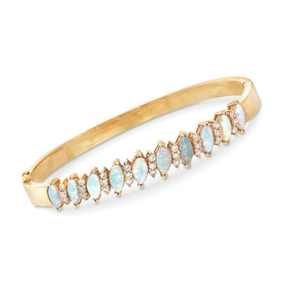 C. 1980 Vintage Opal and .90 ct. t.w. Diamond Bracelet in 18kt Yellow Gold, , default