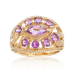 1.10 ct. t.w. Amethyst Ring With White Topaz Accents in 18kt Gold Over Sterling, , default