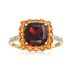 2.30 Carat Garnet and .40 ct. t.w. Citrine Ring With Diamond Accents in 14kt Yellow Gold, , default