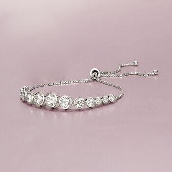 4.85 ct. t.w. Bezel-Set Graduated CZ Bolo Bracelet in Sterling Silver , , default