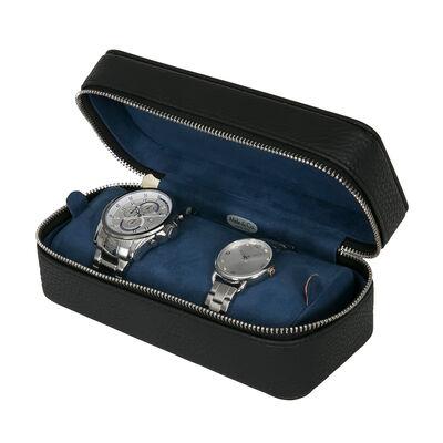 """Mele & Co. """"Alden"""" Black Faux Leather Travel Watch Case, , default"""