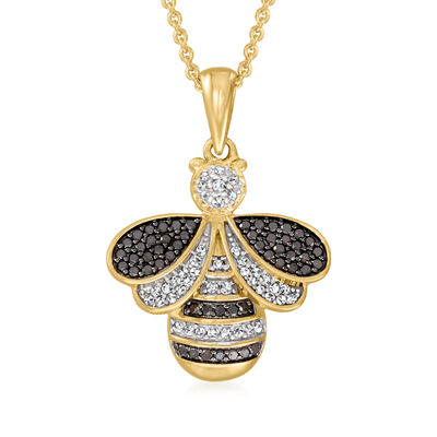 .33 ct. t.w. Black and White Diamond Bumblebee Pendant Necklace in 18kt Gold Over Sterling