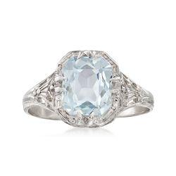 C. 1950 Vintage 1.50 Carat Aquamarine Ring in 14kt White Gold. Size 6.25, , default