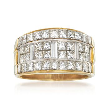 C. 1990 Vintage 3.20 ct. t.w. Princess-Cut and Baguette Diamond Ring in 18kt Yellow Gold. Size 7, , default