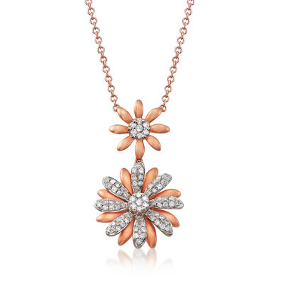 C. 1990 Vintage Giantti .34 ct. t.w. Diamond Double-Flower Necklace in 18kt Rose Gold
