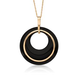 "Black Onyx Pendant With Chain in 14kt Yellow Gold. 18"", , default"