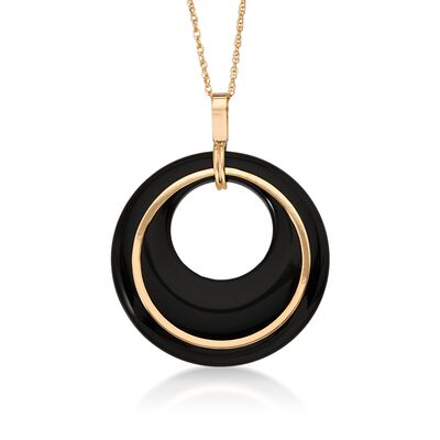 Black Onyx Pendant With Chain in 14kt Yellow Gold, , default