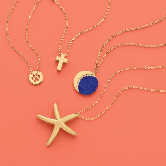 Lapis Crescent Moon Necklace with Diamond Accents in 14kt Yellow Gold
