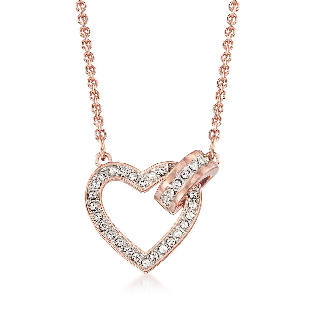 "ff70556e0 Swarovski Crystal ""Lovely"" Clear Crystal Open-Space Heart Necklace  in Rose Gold"