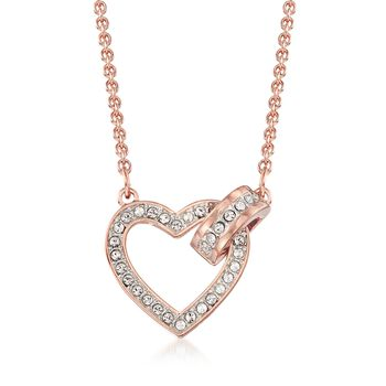 """Swarovski Crystal """"Lovely"""" Clear Crystal Open-Space Heart Necklace in Rose Gold Plate. 16.5"""", , default"""